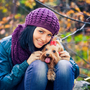 Girl and Her Dog Friend Photograph
