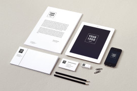White and Black Modern Looking Sample Logo Branding Package