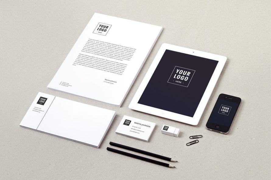 White and Black Modern Looking Sample Logo Branding Package