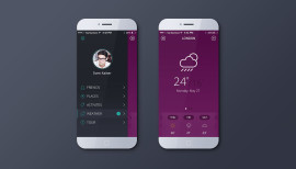 Mobile App Purple and Gray Color