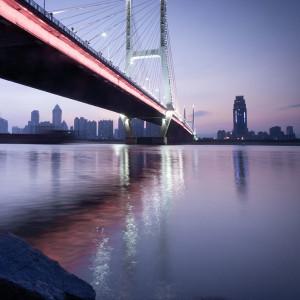 Lighted Bridge On Water