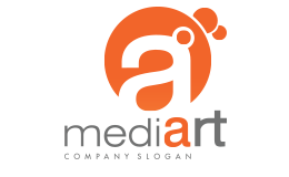 Media Art Orange And Gray Color Logo Large Size