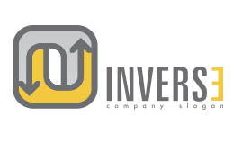 Inverse Backwards Style Logo Gray and Mustard Color Large Size