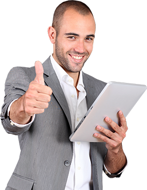 Thumbs Up Salesman Photograph For Thyroid Doctor Miami Website